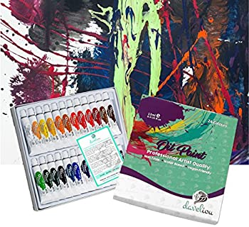 Daveliou Oil Paints Set – 12ml X 24 Colour Paint Tubes – Non Toxic Painting Kit For Beginners Students & Artists 16