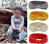 Tukistore 4 Stück Baby Mädchen Gestrickt Stirnband Häkelarbeit Schleife Design Winter Kopfband Haarband Ear wärmer Headwrap für Neugeborenes Kleinkind
