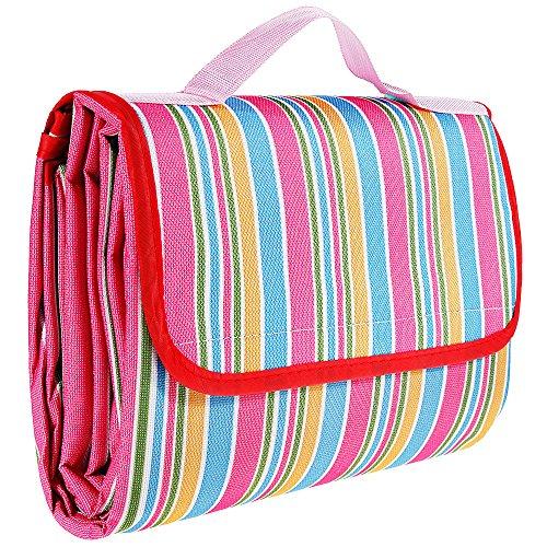 Rovtop 200x150cm coperta da spiaggia portatile, coperta da picnic impermeabile, per picnic, spiaggia, escursionismo, campeggio