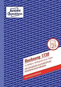 Avery Zweckform 1730 Rechnung (A5, selbstdurchschreibend, 2x40 Blatt) weiß/gelb