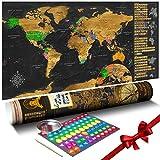 murando Rubbelweltkarte englisch XXL 100x50 cm Weltkarte zum Rubbeln mit Länder-Flaggen Laminiert Design Geschenk-Tube Viele Extras Rubbel Landkarte Poster zum freirubbeln World Map k-A-0229-o-b