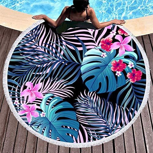 Vanzelu Strandtuch Ist Leicht Zu Tragen, Sommer Schal Drucken Große Runde Quaste Stranddecke, 150Cm Blatt - Tragen Große Schal