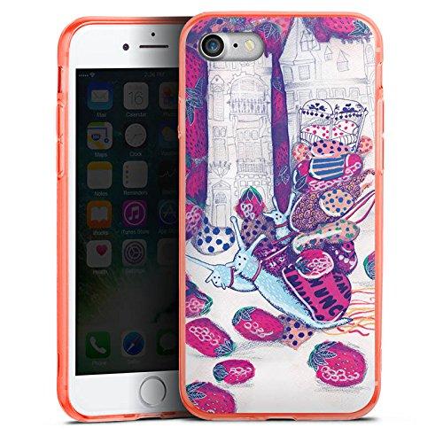 Apple iPhone 7 Silikon Hülle Case Schutzhülle Erdbeeren Schnecken Chaos Silikon Colour Case neon-orange