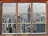 New Yorker Skyline mit Empire State Building schwarz/weiß, Fenster 3D-Wandsticker Format: 92x62cm Wanddekoration 3D-Wandaufkleber Wandtattoo