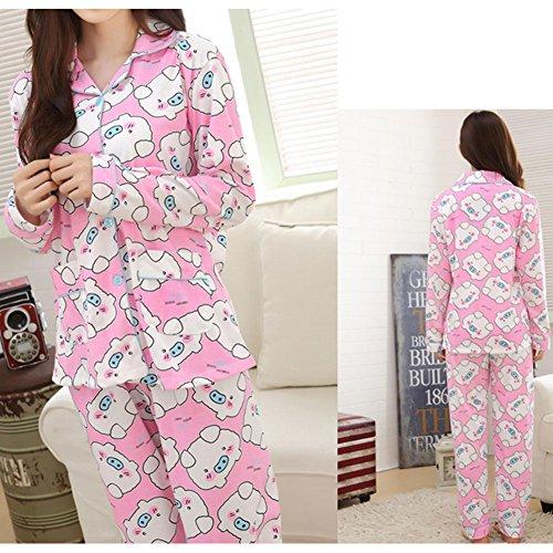 Longues Ensemble de nuit Elégant pyjama en coton à manches varié de couleur
