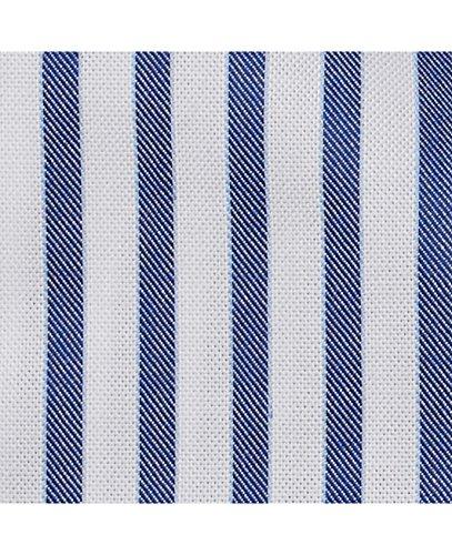 Savile Row Men's Navy White Twill Bengal Stripe Smart-Casual Classic Fit Single Cuff Shirt Navy White