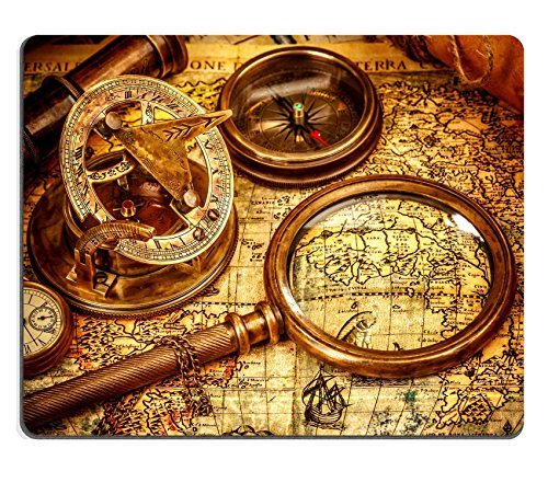 Preisvergleich Produktbild Liili Mouse Pad Natural Rubber Mousepad Vintage magnifying glass compass telescope and a pocket watch lying on an old map Image ID 22914155 by Liili