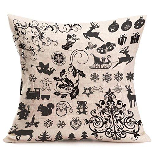 Throw Pillow Case,Kingwo Christmas Cartoon Decoration Festival Pillow Case Cushion Cover Santa Claus Pillowcase Maple Leaf Pillow Cover (P)