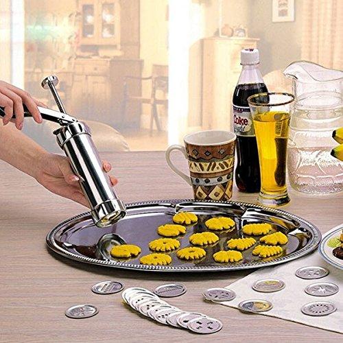 22pcs Discs Edelstahl Biscuit Maker Plätzchen Presse Dekorieren Gun (Cookie-presse-creme)