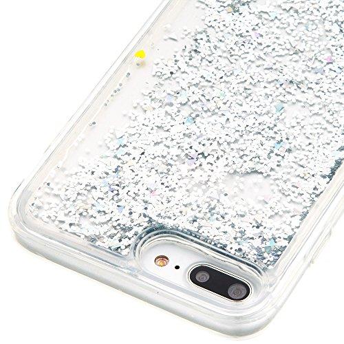 """MOONCASE iPhone 7 Plus Coque, Glitter Sparkle Bling Liquide Transparent Étui Coque pour iPhone 7 Plus 5.5"""" Soft TPU Gel Souple Case Housse de Protection (Love flower Pattern) Argenté"""