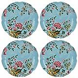 CREATIVE TOPS Katie Alice Oriental Flora Placas Laterales con Estampado Floral Decorativo, 17cm (6.5') (Set de 4), cerámica, luz Azul, 17x 17x 20cm