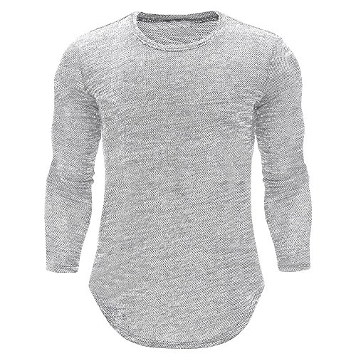 Basic T-Shirts für Männer,Loveso ★ Herren Slim Fit Sport Fitness Training Crewneck Täglichen Modern Sweatshirt Langarmshirt Pullover Warm -