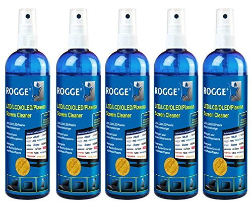 5er Pack ROGGE 250ml Original, LCD - TFT - LED - TV - Touch Displays + Plasma Screen Cleaner. The Original since 1998. Made in GERMANY (Touch-screen-reiniger)