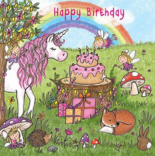 twizler Happy Birthday Karte für Mädchen mit Magical Einhorn, Feen, Regenbogen, und Glitzer–Kinder Geburtstag–Mädchen Geburtstag Karte (Happy Birthday Karten Für Mädchen)