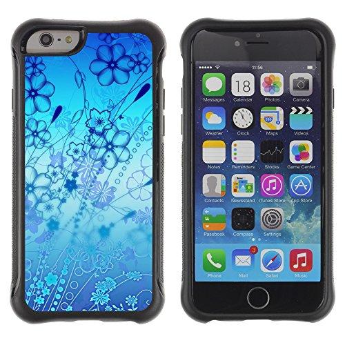 Graphic4You Blue Butterfly And Flowers Design Shockproof Anti-Rutsch Weichen Hülle Case Tasche Schutzhülle für Apple iPhone 6 / 6S Design #1