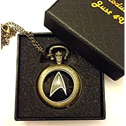 Star Trek Logo Quartz Pocket Watch Necklace - Antique Bronze Effect - GIFT BOXED WITH FREE SPARE BATTERY