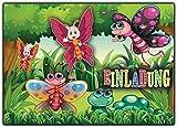 Schmetterling Einladungskarten zum Kindergeburtstag Schmetterlinge (8 Stück) Schmetterlinge Einladungen Geburtstag Gartenparty Waldfest Geburtstagseinladungen Herbst
