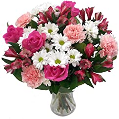 Clare Florist Mothers Day Bouquet, Gorgeous Fresh Pink Roses and Carnations Beautifully Arranged - The Perfect Gift for Mum
