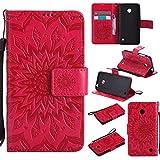 Nokia Lumia 630 / 635 Hülle, SpiritSun Ledertasche Schutzhülle für Nokia Lumia 630 / 635 Folio PU Leder Tasche Case Cover Bookstyle mit Standfunktion und Kredit Kartenfächer - Tribal Lotus Blume Muster - Rot