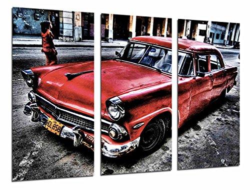 Cuadro Moderno Fotografico Coche Clasico Rojo en Cuba, Vintage, 97 x 62 cm, ref. 26625