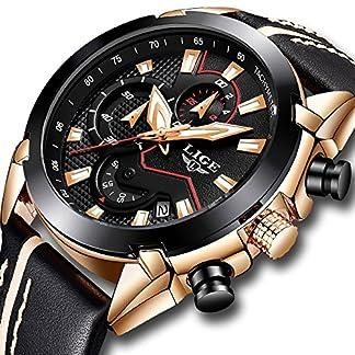 Herren-Fashion-Casual-Uhren-Kleid-Schwarz-Leder-Datum-Wasserdicht-Uhren-Sport-Chronograph-Armbanduhr-Schwarz-Quarz-Armbanduhr