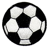 Fussball Ball Schwarz Weiß Aufnäher Bügelbild