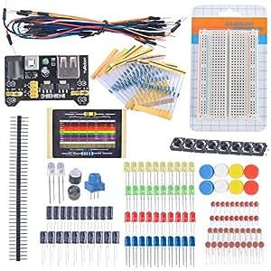 DIYmall Ventilateurs électroniques Kit Breadboard cable Résistance condensateur LED potentiomètre pour Arduino