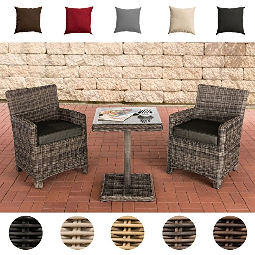 CLP Gartengarnitur CARUSO | Sitzgruppe mit 2 Sitzplätzen | Gartenmöbel-Set aus Polyrattan | Komplett-Set mit 2 Gartenstühlen und einem Tisch | In verschiedenen Farben erhältlich Rattanfarbe: Perlweiß, Bezugfarbe: Rubinrot