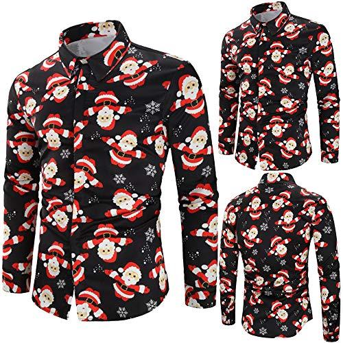 Herren Hemd Weihnachten Slim Fit Modernes Freizeithemd Kurzarm Kurzarmhemd Langarm Shirt Business Freizeit Party (Schwarz,3XL)