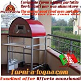 Holzbackofen Pizza Party 70x70 'RED' 100% made in Italy (Pizzaofen,...