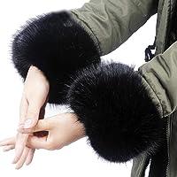 QIEZI Polsino da Polso in Pelliccia Sintetica Anelli da Polso Morbidi e Soffici Copri Polso per bracciali per Abiti Autunno Inverno