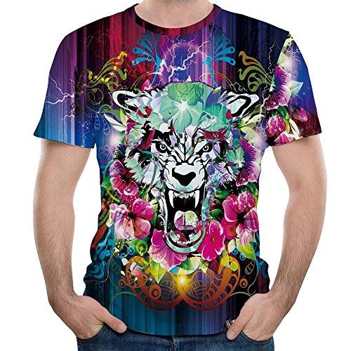 LEEDY T-Shirt a Manica Corta con Stampa t-Shirt a Girocollo Tinta Unita 6D di personalità Creativa per Uomo