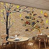 Wandgemälde 3D Wallpaper Benutzerdefinierte Wandbild Silk Moderne Mode Cartoon Großen Baum Bücherregal Backsteinmauer Hintergrund 3D Raumdekoration Wandpapier,200Cm(H)×300Cm(W)