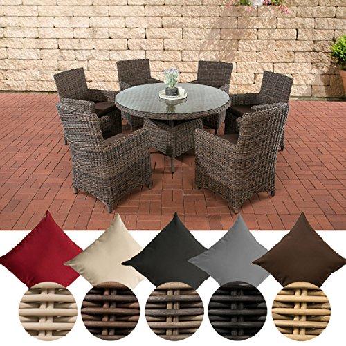 CLP Polyrattan Sitzgruppe LARINO mit Polsterauflagen | Garten-Set: EIN Esstisch und 6 Gartenstühle | In verschiedenen Farben erhältlich Bezugfarbe: Terrabraun, Rattan Farbe braun-meliert