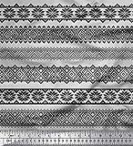 Soimoi Grau Satin Seide Stoff aztekisch geometrisch