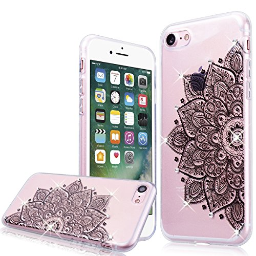 "WE LOVE CASE iPhone 7 4,7"" Hülle Weich Silikon iPhone 7 4,7"" Schutzhülle Handyhülle Im Durchsichtig Transparent Crystal Clear Diamant Glitzer Funkeln Mandala Muster Handytasche Cover Case Etui Soft TP Blume"