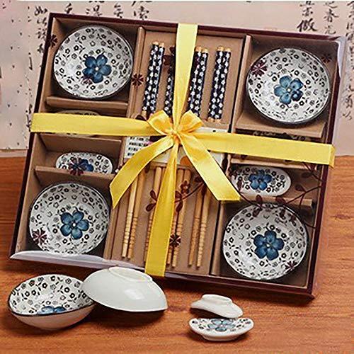 Finsink, kit per sushi per quattro persone, set da 12 pezzi per sushi  con piattini design petalo di fiore blau
