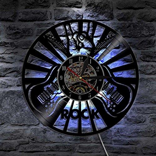 LXZ Rock Musik Abspielen Das Gitarre Led Vinyl Uhr Mauer Beleuchtung Cool Zimmer Innere Dekor Lp Handarbeit Kunst Lampe Fern Regler