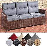 CLP Polyrattan Sofa FISOLO mit 3 Sitzplätzen I Gartensofa mit Aluminium-Gestell I Couch mit Polsterauflagen I In Verschiedenen Farben erhältlich Rattan Farbe braun-meliert, Bezugfarbe: Eisengrau