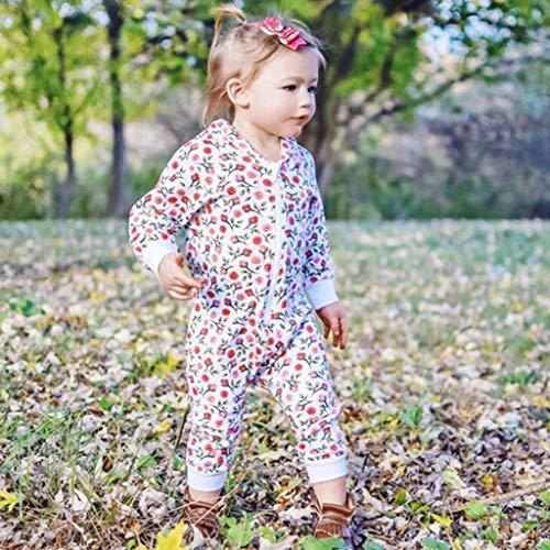MHC~KJ Newborn Infant Kids Baby Girls Floral Hooded Zipper Long Sleeve Romper Jumpsuit Red Image 9