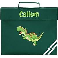 Personalised Book Bag, Any Custom Name, Dinosaur or Monster Design, School Book Bag (Bottle Green)