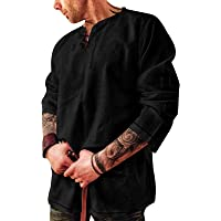 Mens Shirts Fashion Cotton Linen Henley Shirt Casual Hippie Beach Long Sleeve T Shirts