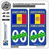 2 Stickers autocollant plaque immatriculation auto : Andorre - Drapeau
