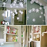 ILOVEDIY 3 Meter 12Stück Weihnachten Schneeflocken Girlande Schneehänger Fensterdeko
