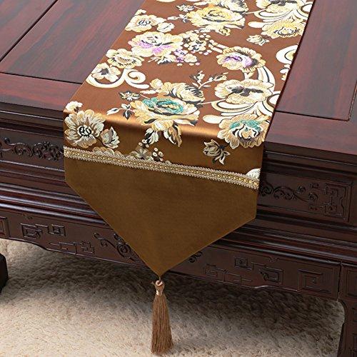 DHSNJKL Tischläufer/Bett-Runner/tischtuch/Damast tischdecke-A 33x200cm(13x79inch) (Damast-beige-bett-decke)