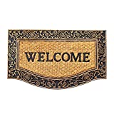 Onlymat Black Rubber Natural Coir Doormat 45 cms x 75 cms x 0.8 cms, for Main Door/Front Door, Bathroom, Bedroom, Entrance, Kitchen, Home, Main Door, Entryway, Office, Covered Outdoor, Shop, Outside, Bed room, Floor with Hard, Eco-friendly, Thick Material & Rubber for Welcome and Big/Large/Long Size Floor Door Mat Room Decor, Anti-Slip, Anti-skid, Low Price/Lowest Price, Essentials Great Deals on Items Matt Chatai/Foot Mat
