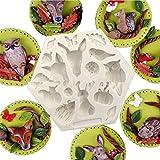 Timetries Mini Tiere Silikonform Schokolade Süßigkeiten Form Kuchen Dekorieren Werkzeuge DIY Backen Fondant Formen Silikon Kuchenform (Insekt, Kaninchen, Eule, Schmetterling, Käfer, Kürbis, Pilz)
