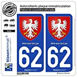 blasonimmat 2 Autocollants Plaque immatriculation Auto 62 Aire-sur-la-Lys - Armoiries