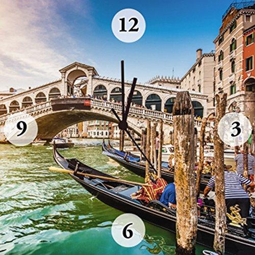 En la pared-reloj de pared digital-Impresión en Lienzo en madera-marco al silencioso de gran calidad-reloj Canada stock de panorámica en el famoso canal grande el puente de Rialto en el diseño de puesta de sol en Venecia de tamaño de 30 x 2,8 cm