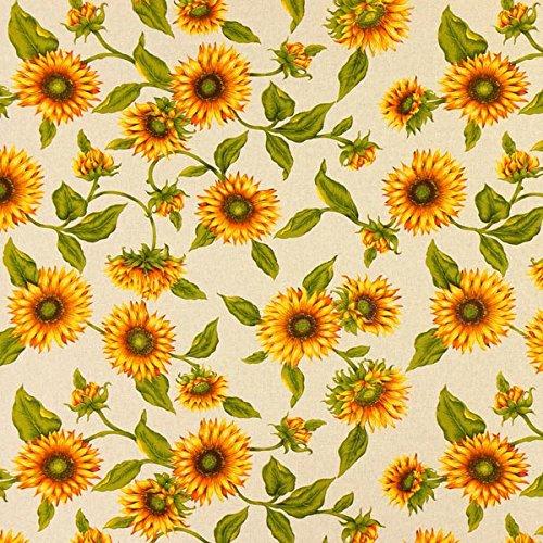 Fabulous Fabrics Dekostoff Natur - Sonnenblume - Meterware ab 0,5m - zum Nähen von Kissen, Tischdecken und Taschen -
